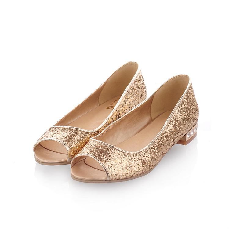 ebbe37c6a4a6 2013 summer gold paillette rhinestone low-heeled shoes open toe flat sandals  wedding shoes female
