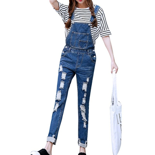 2016 Womens Jumpsuit Denim Overalls Ripped Casual Loose Skinny Jeans Pants Hole Salopette Jeans Women Overalls  Plus size S-5XL