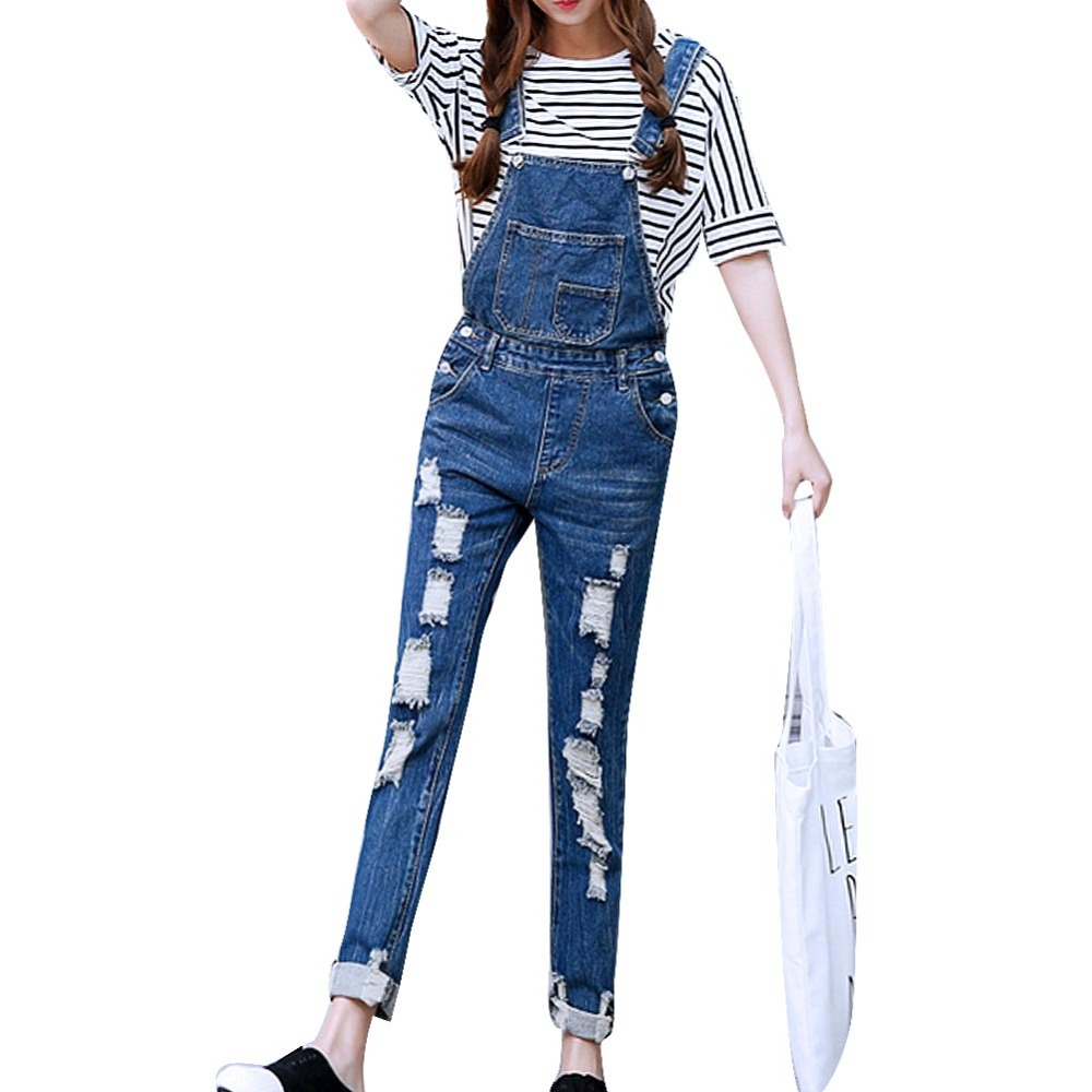 2017 Womens Jumpsuit Denim Overalls Ripped Casual Loose Skinny Jeans Pants Hole Salopette Jeans Women Overalls  Plus size S-5XL denim overalls male suspenders front pockets men s ripped jeans casual hole blue bib jeans boyfriend jeans jumpsuit or04