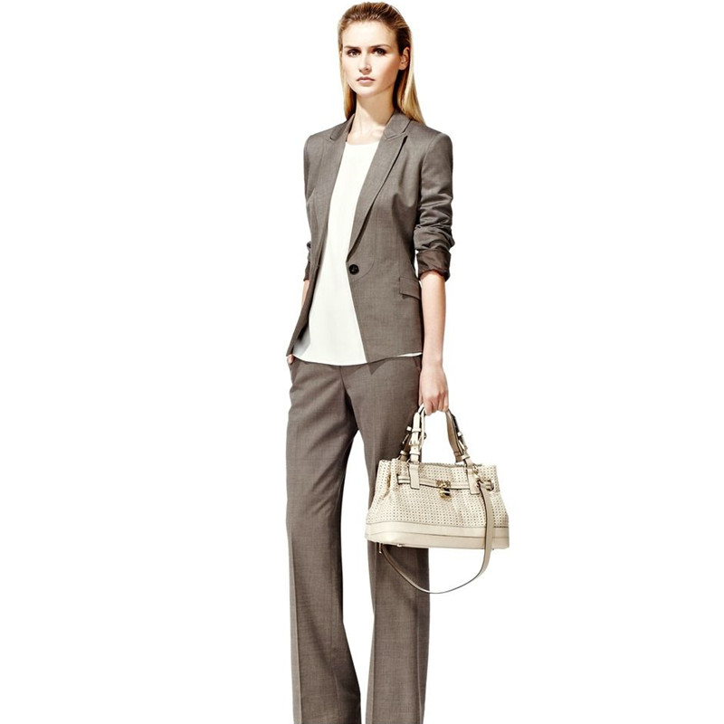 women suits pants Custom business lady pants suit 2 piece set gray suit jacket office lady gap jacket female clothing ...