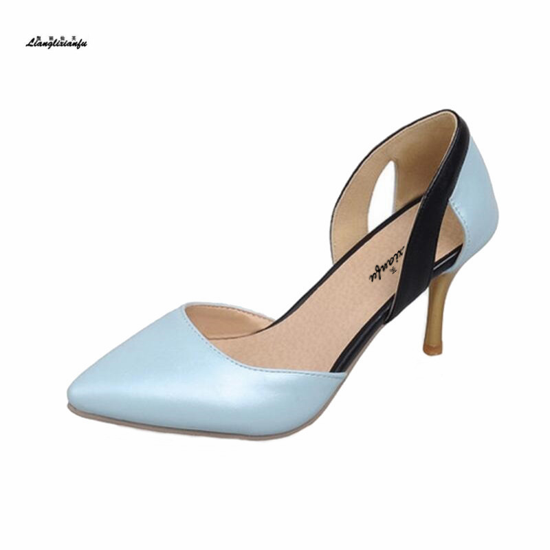 Sexy Pointed Toe women shoes Small Yards:30 31 32 46 47 Color Matching zapatos mujer 8cm Thin heel Ankle Strap shoes woman pumps