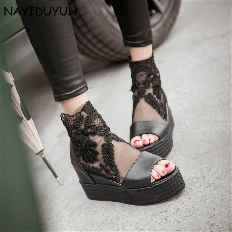 5feb18d80b324 NAYIDUYUN 2018 Women High Top Breathable High Heel Roman Gladiator Sandals  Open Toe Party Lace Pumps Casual Punk Greepers-in High Heels from Shoes on  ...