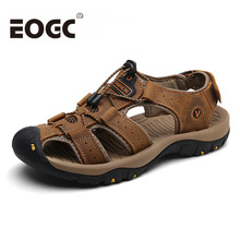 Brand Genuine Leather Summer shoes Soft Men Sandals Shoes For Male Breathable Light Beach Casual Quality Walking Beach Sandals недорого