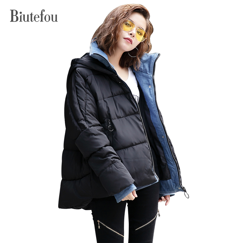 2017 Winter thick Parkas women fashion large size denim patch designs solid color hooded coats цены онлайн