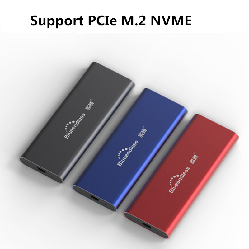 Blueendless PCIE M.2 NVME SSD Enclosure M Key Type C USB3.1 2240/2280 SSD Case Full Aluminum 10Gbps External Box For Solid Disk