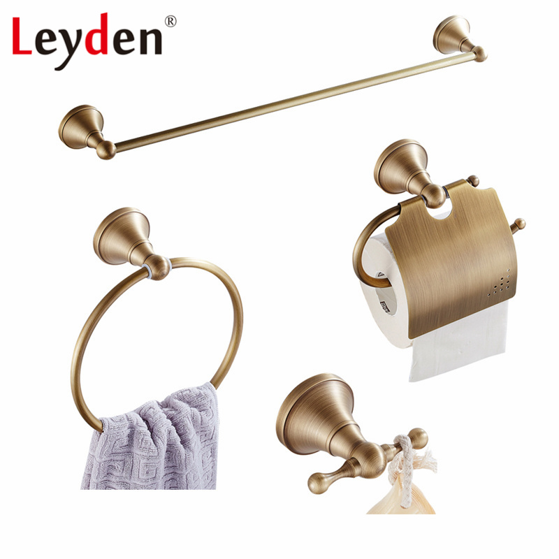 Leyden 4pcs Black Towel Rail Toilet Tissue Holder Towel Ring Coat Hook Wall Mounted Brass Bathroom Accessories Bath Hardware Set oil rubbed bronze bathroom toilet paper holder roll towel bar holder wall mounted