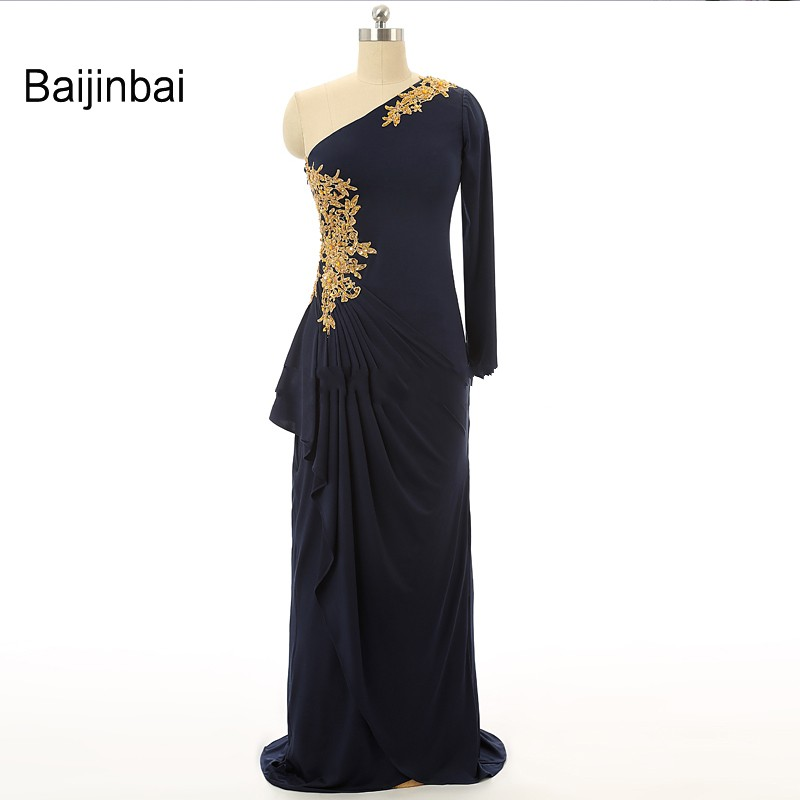 Baijinbai Sexy One Shoulder Long Sleeve Mermaid Prom Dresses 2017 Lace Appliques One Shoulder Woman Vestidos