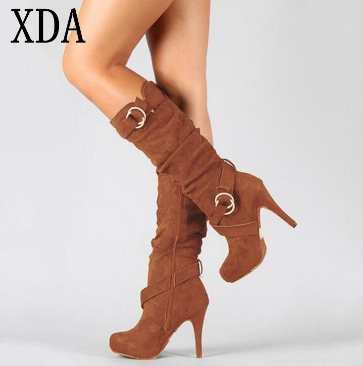 XDA 2018 Big Size 35-43 Stretch boots Autumn Winter Knee-high Suede Women Boots Fashion pointed Toe High Heels long boots W852