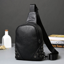 New men's small Korean fashion trend chest pack rivet male chest shoulder bag messenger package back bag