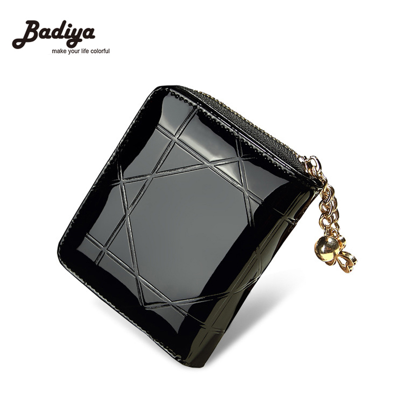 Plaid Enamel Leather Wallet Women Korea Fashion Short Wallets Bright leather Coin Purses Fresh Carteira Summer Card Holders fashion wallet women simple short wallets hasp coin purse credit card holders handbag carteira feminina portefeuille femme