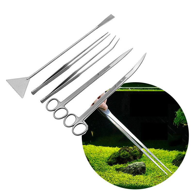 Stainless Steel Aquarium Maintenance Tools Kit Aquatic Plant Grass Tweezers Scissor Substrate Spatula Tool