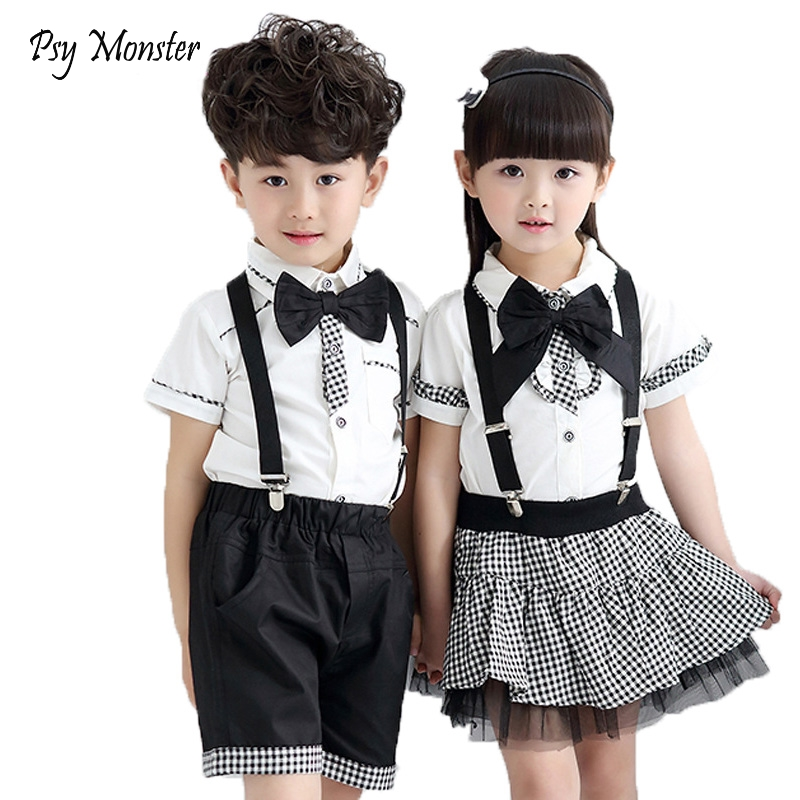 Children Formal Class Suit Girls Boys School Uniforms Sets Bow Tie T-shirt +Half Strap Pant Tutu Skirt Boy Performing Suit L209 2016 summer boys short sleeved t shirt two piece children s sports suit camouflage uniforms boys