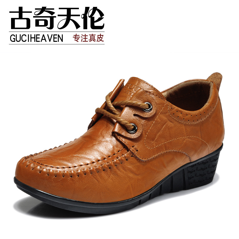 Guciheaven 7791 Autumn Spring Casual Flats,Breathable Flats Full Grain Leather Shoes,Round Toe Lace-Up Ladies' Loafers Shoes