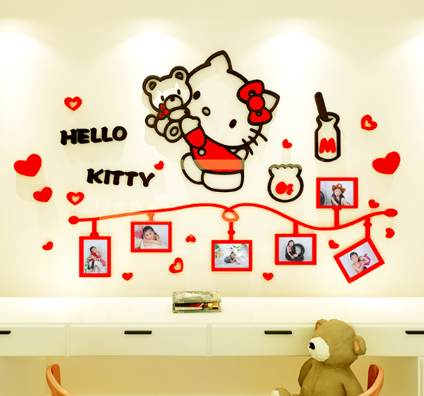 cute cartoon hello kitty acrylic wall sticker kids girls room decor
