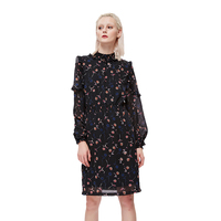 Womens Spring Casual Long Sleeve Mini Dresses Plus Size Sexy Evening Floral Print Vintage Stand A