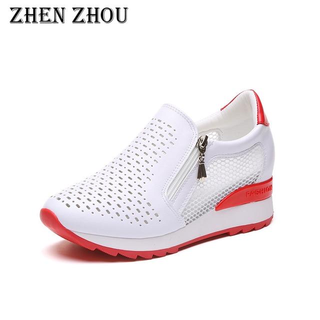 Женская обувь с внутренним каблуком; сезон весна-осень 2018 года; новые дышащие сетчатые волоконные туфли для отдыха в Корейском стиле
