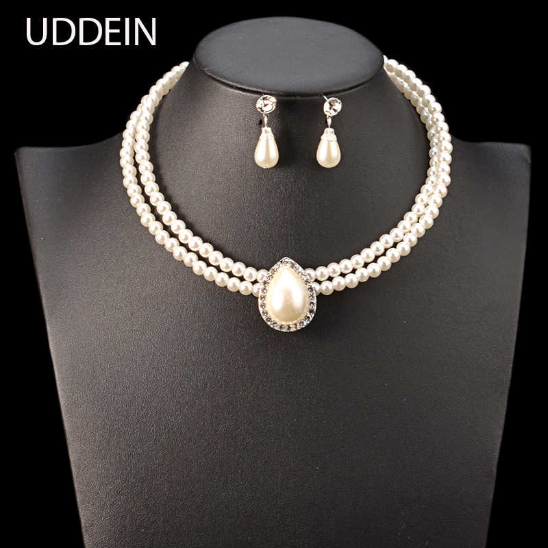 UDDEIN Nigerian Wedding Indian Jewelry Sets Double layer chain simulated pearl jewelry Necklace & Pendant Fashion Collar Women