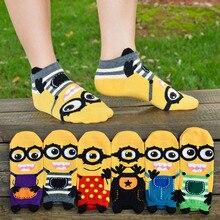 woman cartoon sock minions cute 3d print tube striped meia funny harajuku novelty sox despicable ankle low cut short socks
