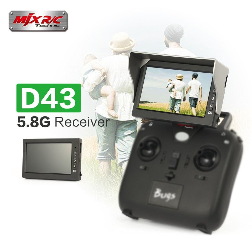 MJX D43 5.8G FPV Monitor 4.3 Inch LCD Screen RC Brushless Drone Spare Parts with G3 Goggles Fits for C5820(Bugs 3) C5830(Bugs 6) mjx bugs 6