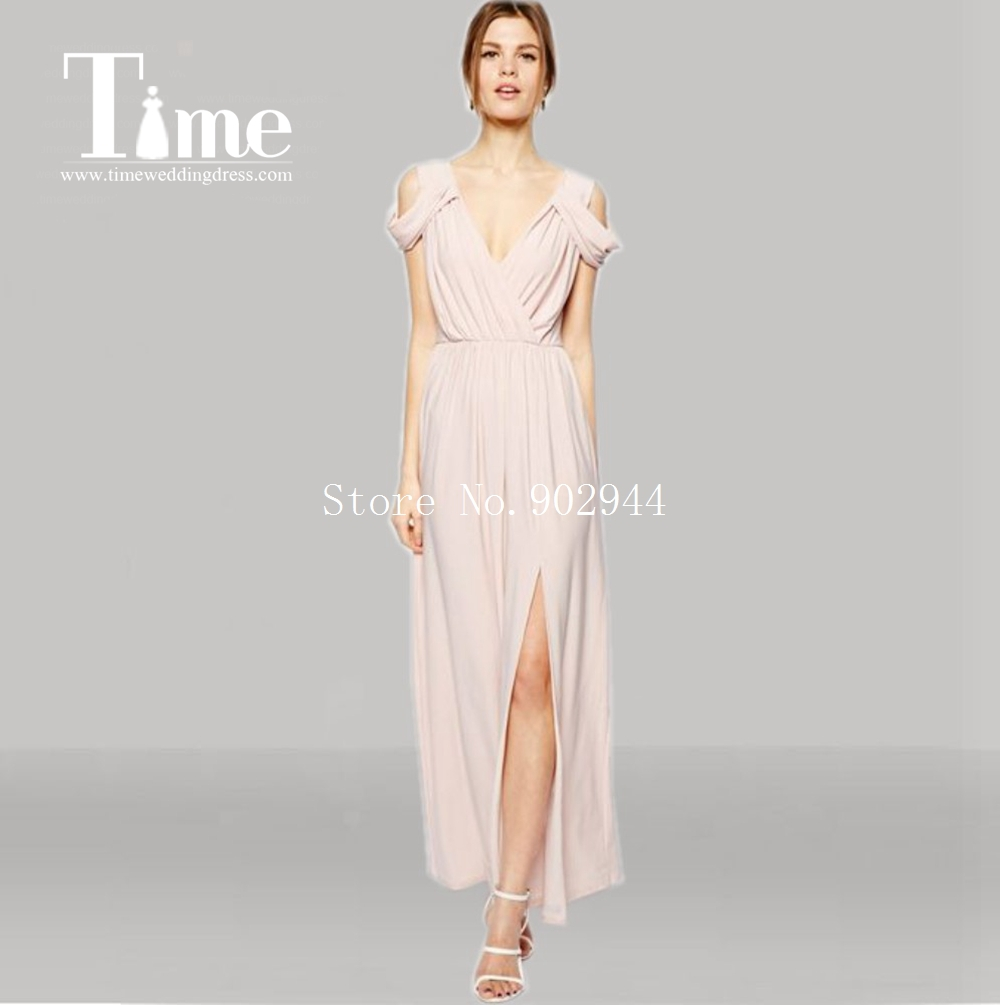 2015 blush pink side slit cheap bridesmaid dresses v neck off 2015 blush pink side slit cheap bridesmaid dresses v neck off shoulder chiffon ankle length maid of honor gowns floor length in bridesmaid dresses from ombrellifo Image collections