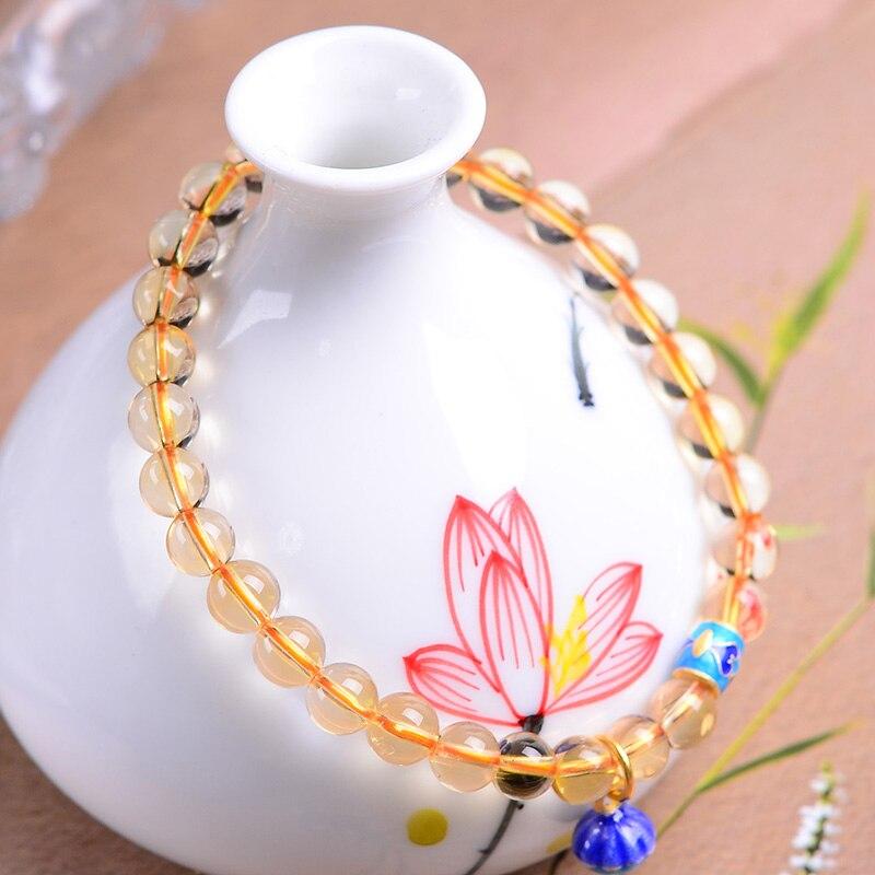 Ручной работы Аутентичный цитрин эмаль Браслеты уникальные ювелирные изделия кристалл