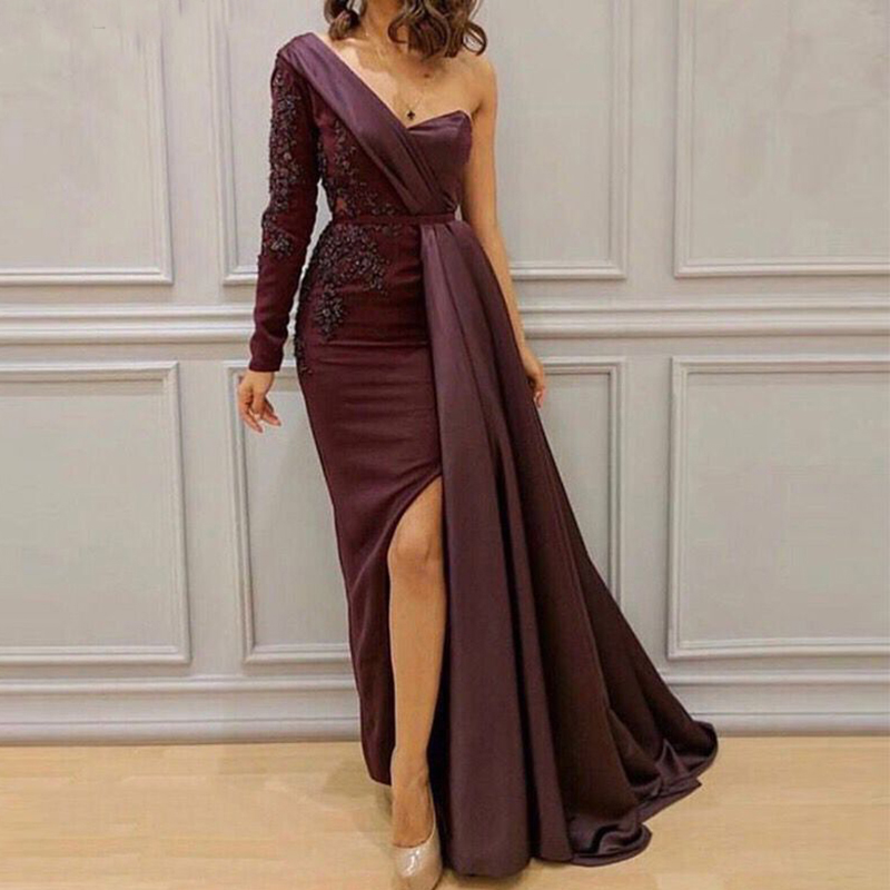 Robe De Soiree 2019 Elegant   Evening     Dress   Long Mermaid One Shoulder Beading with Slit Saudi Arabic Formal Prom   Evening   Gown