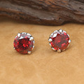 NEW! Vintage 925 Silver Red Zircon Earrings Thai Silver Women Cross Earrings Real Silver Earrings Jewelry Gift