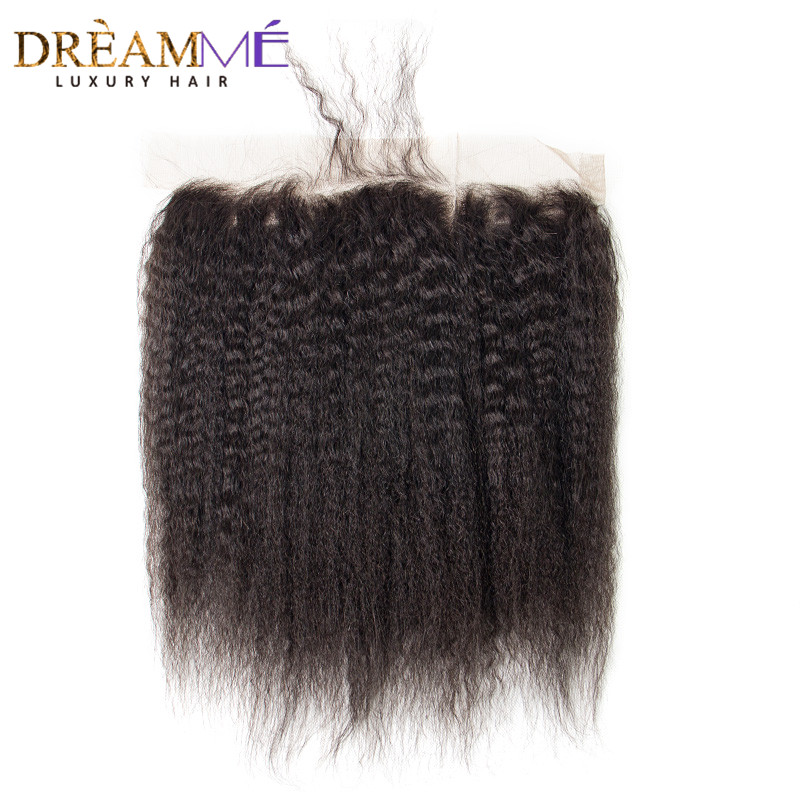 Dreamme Hair Pre-Plukket Kinky Straight Lace Frontal Closure 13x4 - Menneskehår (sort) - Foto 1