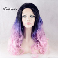 Strongbeauty Long Colorful Body Wavy Wig Synthetic High Density 3 Tones Lace Front Ombre Blue to Pink Wig for Black Women