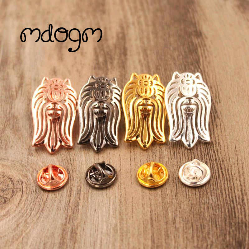 Mdogm 2019 Yorkshire Dog Animal Brooches And Pins  Suit Cute Funny Metal Small Father Collar Badges Gift For Male Men B042