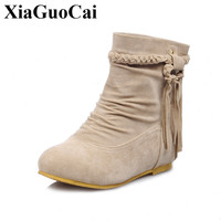 New Arrival Fashion Boots Women Shoes Winter Slip On Flats Ankle Boots Solid Round Toe Wear