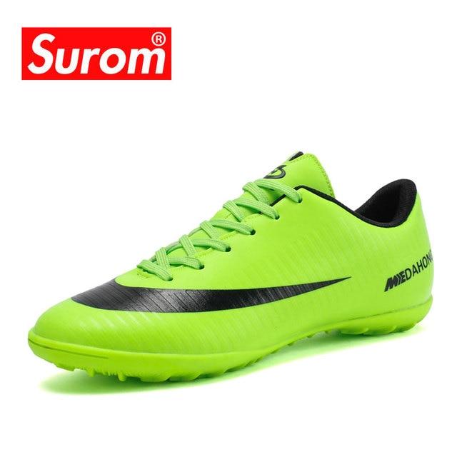 cdd164787 SUROM 34 ~ 45 Longo Pico Sapatos Sapatilhas Dos Homens Do Esporte de Futebol  Botas de