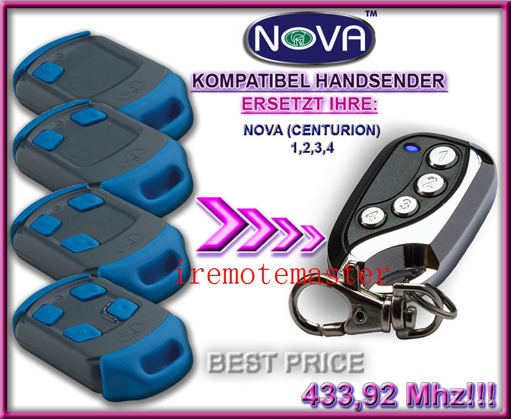 Symbol Der Marke Nova Fernbedienung Zugangskontrolle Nova Garagentor Ersatz Remote 433,92 Mhz Sicherheit & Schutz