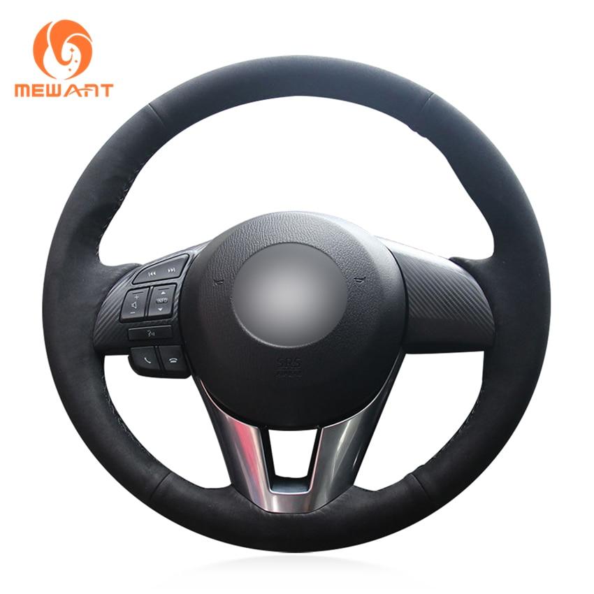 MEWANT Hand-stitched Black Suede Car Steering Wheel Cover for Mazda 3 Axela 2013-2016 Mazda 6 Atenza 2014-2017 Mazda 2 2015-2017 задний диффузор axela sport для mazda 3 2013 2017