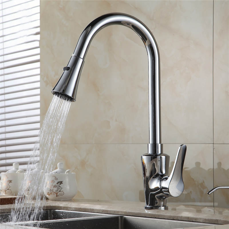 Kitchen Faucets Silver Single Handle Pull Out Kitchen Taps Single Hole Handle Swivel 360 Degree Swivel Water Mixer Tap GYD-5102L newly arrived pull out kitchen faucet gold sink mixer tap 360 degree rotation torneira cozinha mixer taps kitchen tap