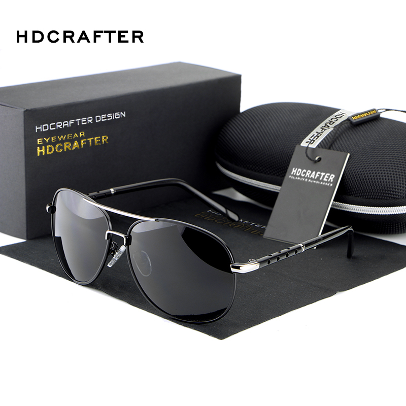 HDCRAFTER Men font b Polarized b font Sunglasses Brand Five piece Aluminum Magnesium Driving Male font