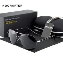HDCRAFTER Men Polarized Sunglasses Brand Five-piece Aluminum Magnesium Driving Male Fashion Aviator Sunglasses Oculos