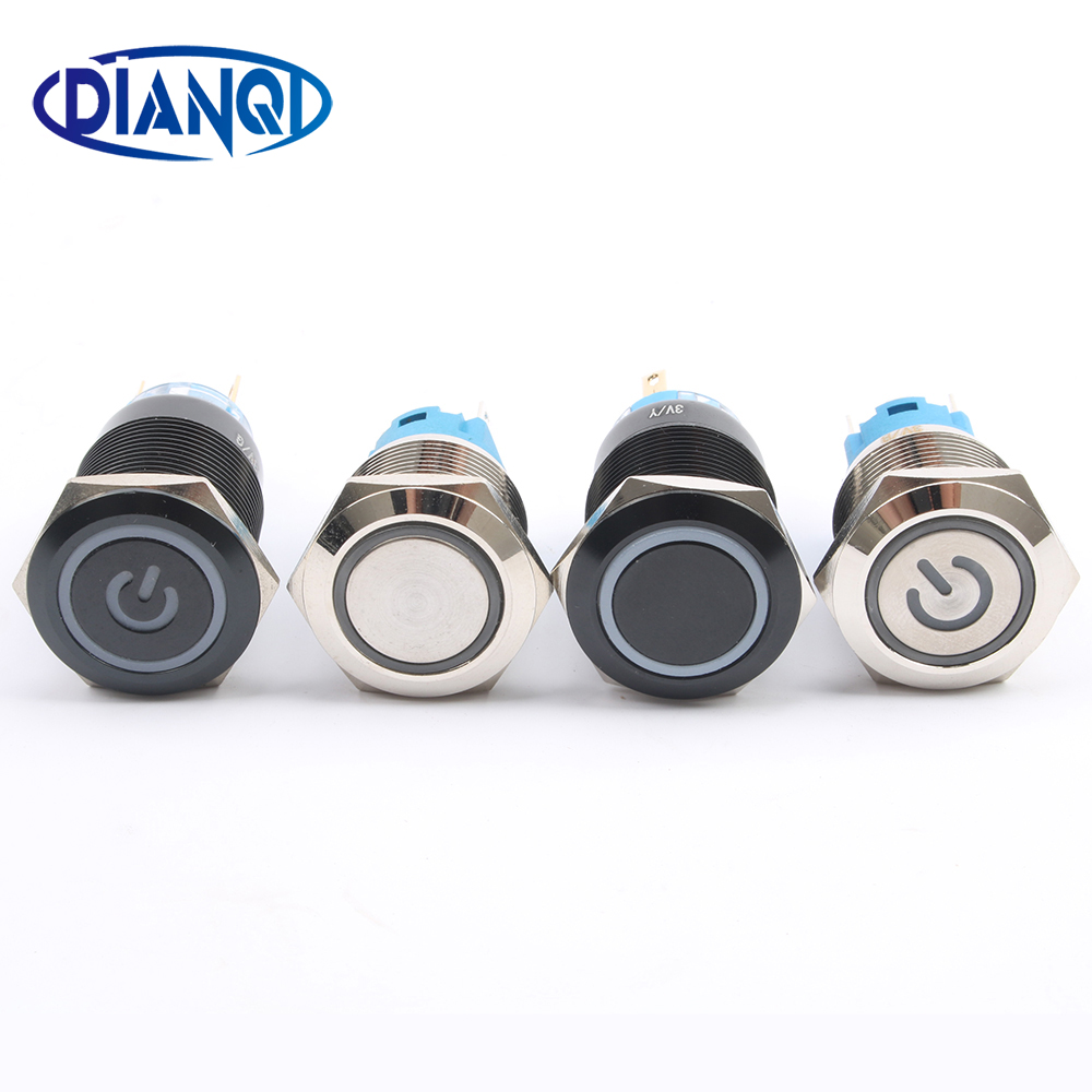 DIANQI 19mm Waterproof Metal Push Button Switch With LED Light RED BLUE GREEN YELLOW Self-locking And Momentary
