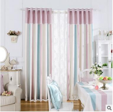 New Arrival 2 Color Blue And Pink Striped Modern/ Mediterranean Curtains  For Livingroom/ Bedroom