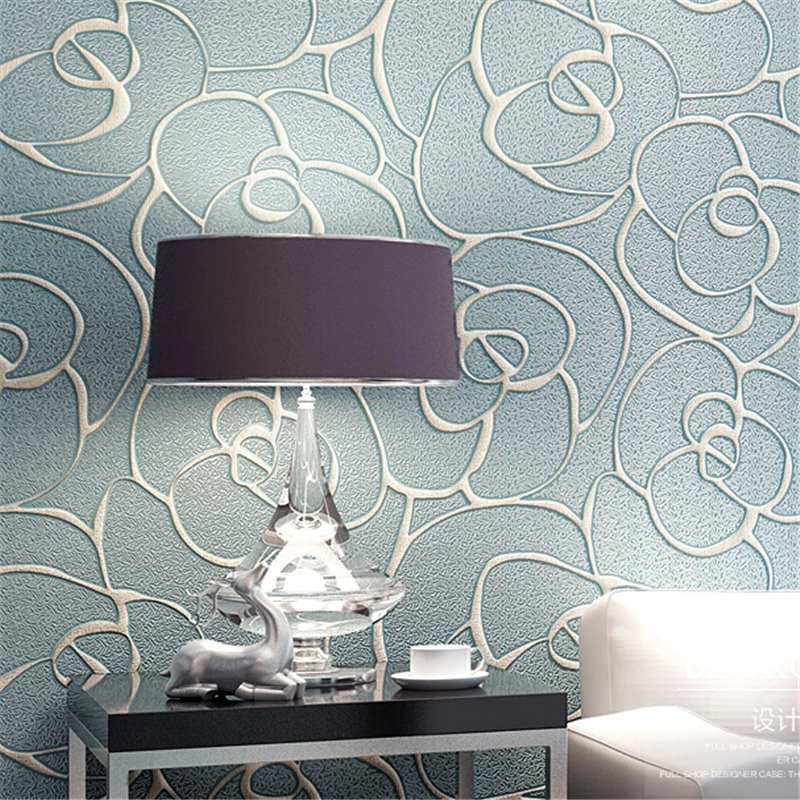 Modern 3d relief roses wallpaper living room bedroom mural for Modern 3d wallpaper for bedroom