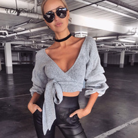Sexy Short Tops Ruffle Sleeve Cotton Party Night Club Wear Women Crop Top Bandage Fashions Blouses