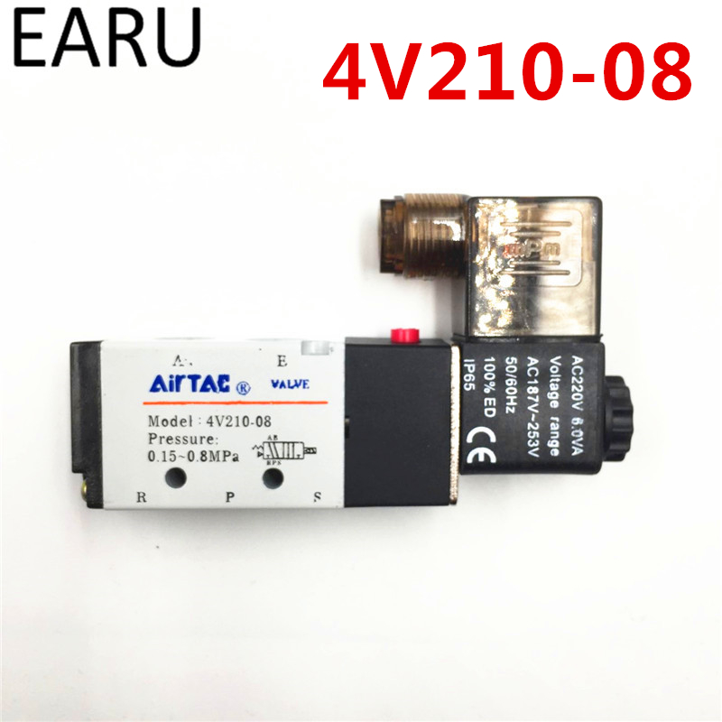 1Pc 4V210-08 G1/4 2 Position 5 Port AirTAC Air Solenoid Valves Pneumatic Control Valve DC12V 24V AC 110V 220V Factory Wholesale 2pcs free shipping 2 position 5 port air solenoid valves 4v210 08 pneumatic control valve dc12v dc24v ac36v ac110v 220v 380v