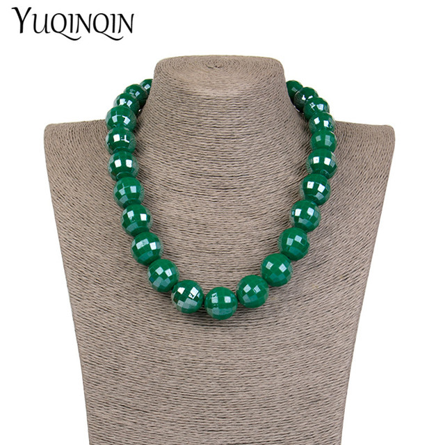 Vintage Long Resin Bead Chains Fashion Necklaces for Women Round Geometric Acrylic Designer Necklace for Girls Jewelry Wholesale