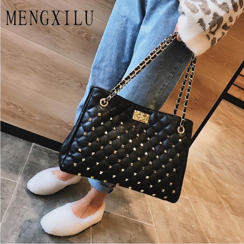 MENGXILU Luxury Big Bag Female 2018 New High Quality Pu Leather Wild Tote Bag Female Large Capacity Rhombic Rivet Shoulder Bag