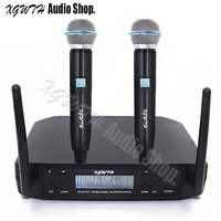 Professional UHF Dual Wireless Microphone System Stage Performances Wireless Cordless Handheld Microphone