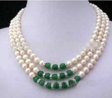 ZCD 317 + + + Wholesale3Rows 7-8 MM Blanc Akoya Perle et Collier Vert(China)