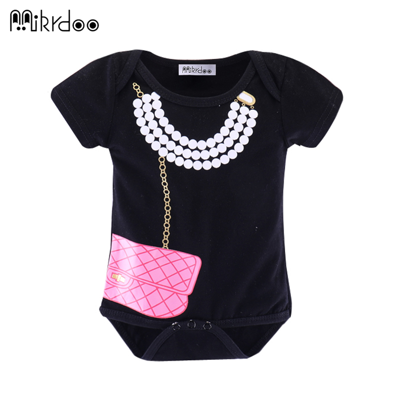 HOT SALE baby girl clothes bag pearl necklace printed short sleeve summer babysuit Newborn Infant Baby girls Romper