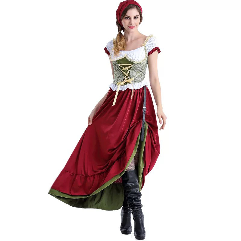 Women Oktoberfest Dirndl Costume Beer Festival Mardi Dress Long Outfit