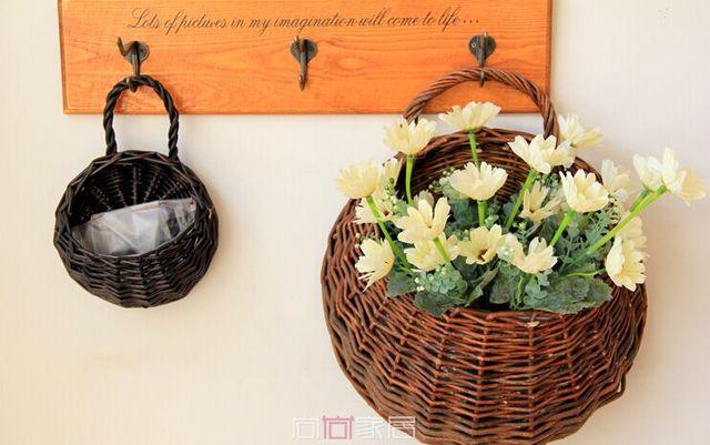 2pcs Set Home Handmade Willow Flowers Rattan Wall Hanging Baskets