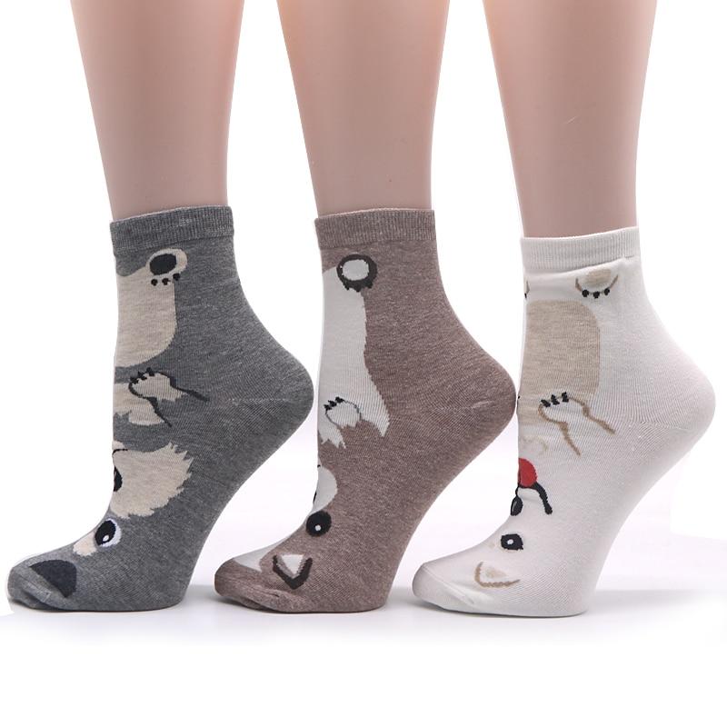 5 Pairs Cute Socks Women 3D Dog Pattern Art Sock Winter Casual Warm Socks for Women Comfortable Cotton Short Girls Sock Funny